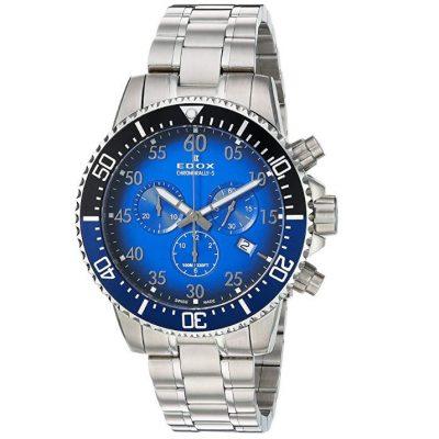Edox Reloj Cronografo para Hombre de Cuarzo con Correa en Acero Inoxidable 10227-3NBUM-BUBN