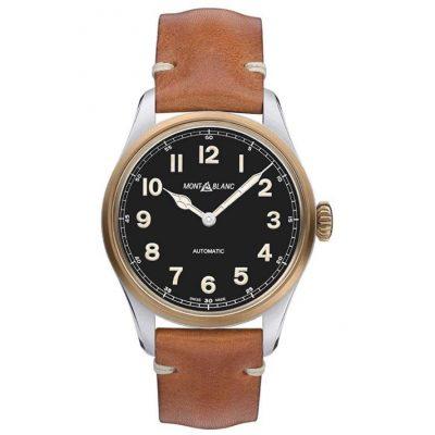 Reloj Montblanc 1858 Automatico 117833 Esfera Negra Correa Piel marron